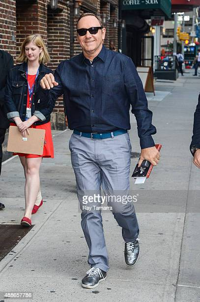 Actor Kevin Spacey enters 'The Late Show With Stephen Colbert' taping at the Ed Sullivan Theater on September 16 2015 in New York City