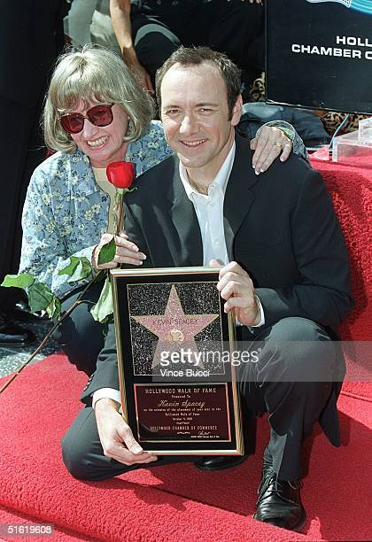 S actor Kevin Spacey gets a hug from his mom Kathleen after he received a star during ceremony on Hollywood's Walk of Fame 05 October 1999 Spacey who...