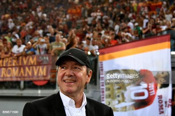 US actor Kevin Spacey looks on prior the Italian Serie A football match Roma vs Inter Milan on August 26 2017 at Olympic stadium in Rome / AFP PHOTO...