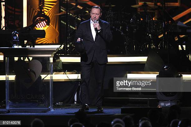 Actor Kevin Spacey peforms on stage during the 2016 MusiCares Person Of The Year at Los Angeles Convention Center on February 13 2016 in Los Angeles...