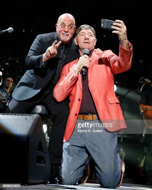 Actor Kevin Spacey performs 'New York State of Mind' with Billy Joel at his 40th consecutive soldout show at Madison Square Garden on April 14 2017...