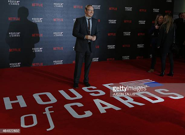 US actor Kevin Spacey poses for photographers on the red carpet ahead of the world premiere of the television series 'House of Cards Season 3 Episode...