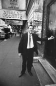 Actor Kevin Spacey posing at stage door of w marquee in bkgrd at the Richard Rodgers Theater where he is performing in the play Lost in Yonkers
