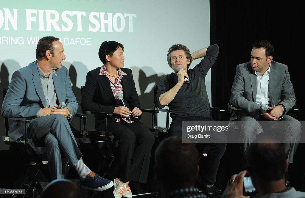 Actor <a gi-track='captionPersonalityLinkClicked' href=/galleries/search?phrase=Kevin+Spacey&family=editorial&specificpeople=202091 ng-click='$event.stopPropagation()'>Kevin Spacey</a>, Shirlyn Wong, actor <a gi-track='captionPersonalityLinkClicked' href=/galleries/search?phrase=Willem+Dafoe&family=editorial&specificpeople=203171 ng-click='$event.stopPropagation()'>Willem Dafoe</a> and producer <a gi-track='captionPersonalityLinkClicked' href=/galleries/search?phrase=Dana+Brunetti&family=editorial&specificpeople=566513 ng-click='$event.stopPropagation()'>Dana Brunetti</a> speak onstage at the premiere of Love's Routine, the winning US film from the Trigger Street Productions Presents Jameson First Shot competition at the Wythe Hotel on June 19, 2013 in Brooklyn, New York.