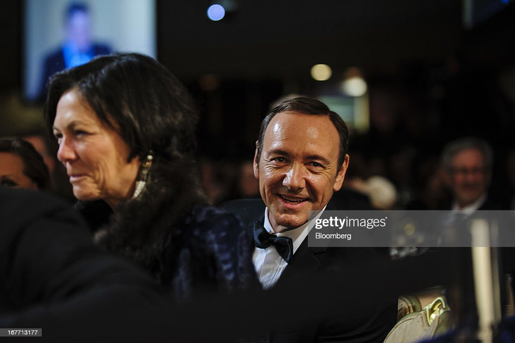 Actor Kevin Spacey smiles during the White House Correspondents' Association (WHCA) dinner in Washington, District of Columbia, U.S., on Saturday, April 27, 2013. The 99th annual dinner raises money for WHCA scholarships and honors the recipients of the organization's journalism awards. Photographer: Pete Marovich/Bloomberg via Getty Images