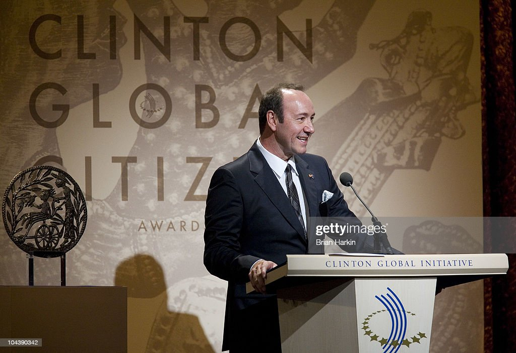 Actor Kevin Spacey speaks during the Clinton Global Citizens Awards at the conclusion to the annual Clinton Global Initiative (CGI) on September 23, 2010 in New York City. The sixth annual meeting of the CGI gathers prominent individuals in politics, business, science, academics, religion and entertainment to discuss global issues such as climate change and the reconstruction of Haiti. The event, founded by Clinton after he left office, is held the same week as the General Assembly at the United Nations, when most world leaders are in New York City.