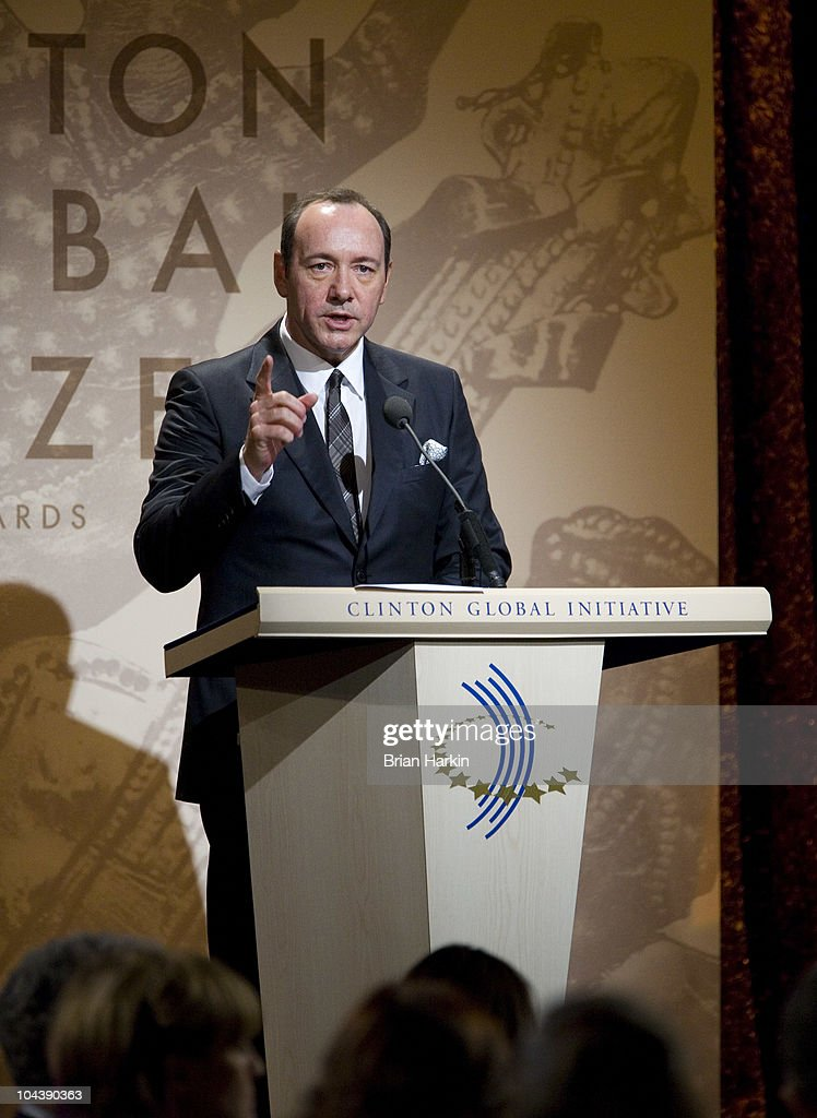 Actor <a gi-track='captionPersonalityLinkClicked' href=/galleries/search?phrase=Kevin+Spacey&family=editorial&specificpeople=202091 ng-click='$event.stopPropagation()'>Kevin Spacey</a> speaks during the Clinton Global Citizens Awards at the conclusion to the annual Clinton Global Initiative (CGI) on September 23, 2010 in New York City. The sixth annual meeting of the CGI gathers prominent individuals in politics, business, science, academics, religion and entertainment to discuss global issues such as climate change and the reconstruction of Haiti. The event, founded by Clinton after he left office, is held the same week as the General Assembly at the United Nations, when most world leaders are in New York City.
