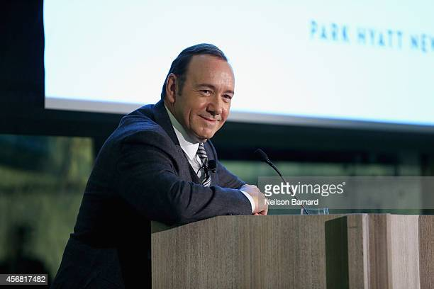 Actor Kevin Spacey speaks during the DEPARTURES Philanthropy Honors Gala with Kevin Spacey and Norah O'Donnell at Park Hyatt New York on October 7...