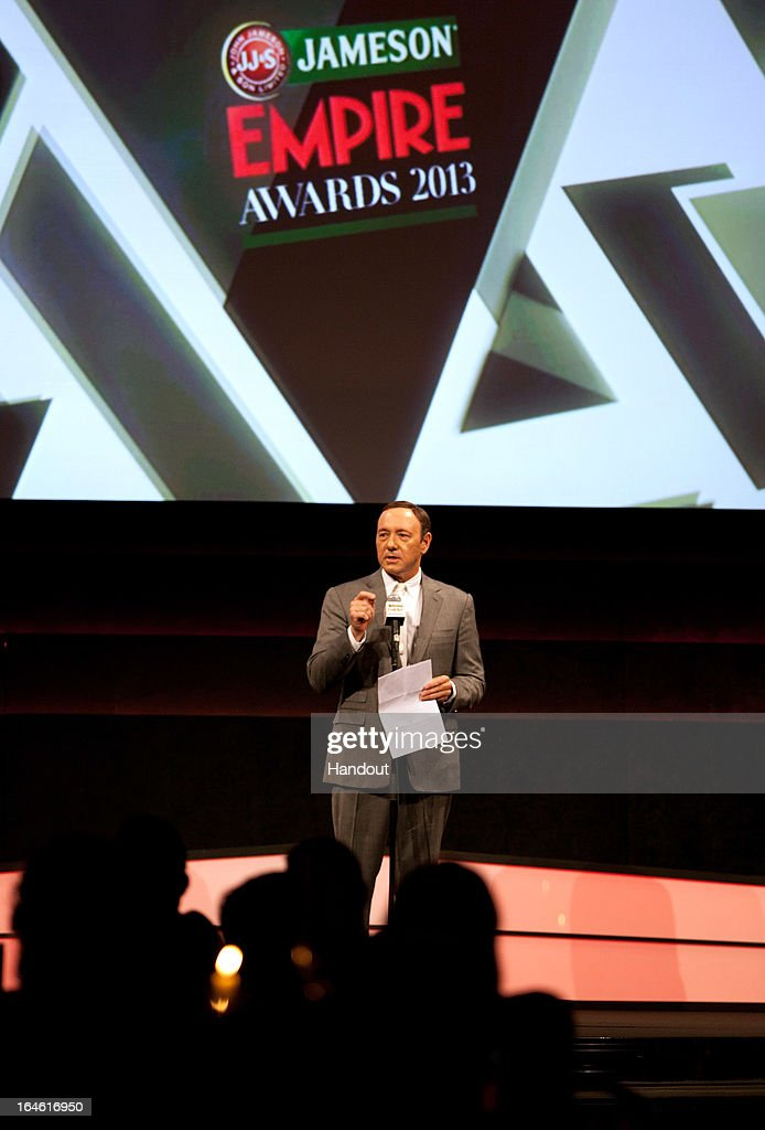 Actor <a gi-track='captionPersonalityLinkClicked' href=/galleries/search?phrase=Kevin+Spacey&family=editorial&specificpeople=202091 ng-click='$event.stopPropagation()'>Kevin Spacey</a> speaks on stage at the Jameson Empire Awards at Grosvenor House on March 24, 2013 in London, England. Renowned for being one of the most laid-back awards shows in the British movie calendar, the Jameson Empire Awards celebrate the film industry's success stories of the year with Empire Magazine readers voting for the winners. Visit empireonline.com/awards2013 for more information.