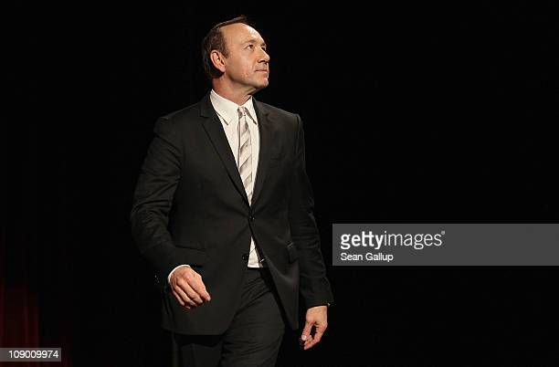 Actor Kevin Spacey walks on stage after the 'Margin Call' Premiere during day two of the 61st Berlin International Film Festival at Berlinale Palace...