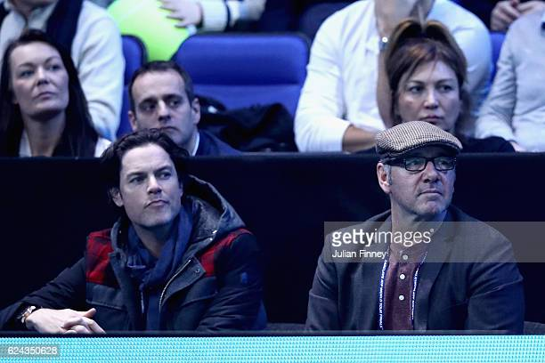 Actor Kevin Spacey watches the action during the men's singles semi final between Andy Murray of Great Britain and Milos Raonic of Canada on day...