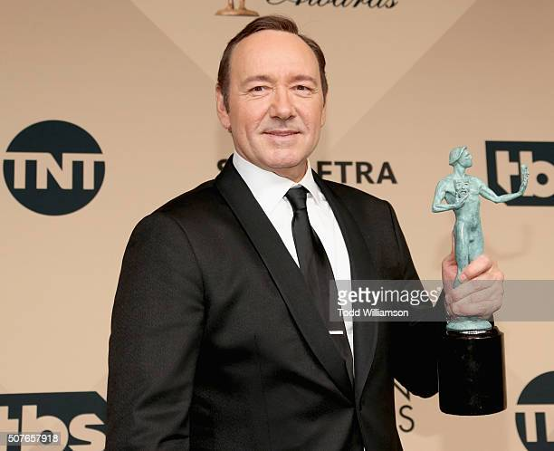 Actor Kevin Spacey winner for Outstanding Performance By a Male Actor in a Drama Series 'House of Cards' poses in the press room during the 22nd...