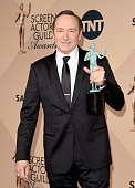 Actor Kevin Spacey winner of the Male Actor in a Drama Series award for 'House of Cards' poses in the press room during The 22nd Annual Screen Actors...