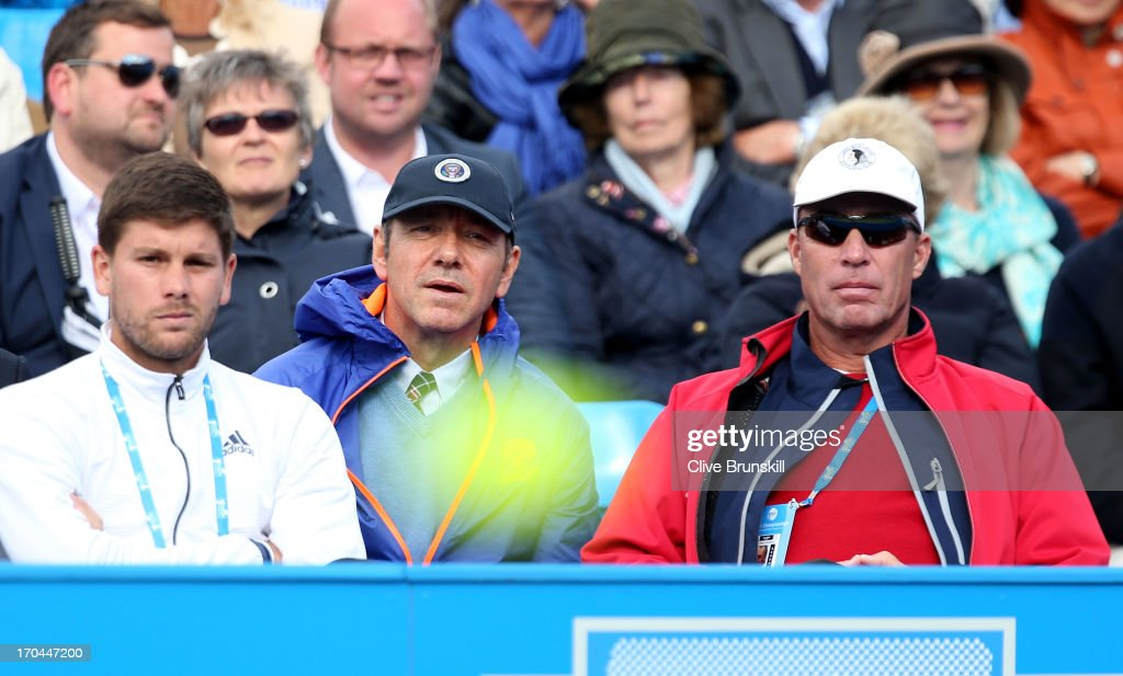 Actor Kevin Spacey (C) with Danny Vallverdu (L) and Ivan Lendl, the coaches of Andy Murray of Great Britain during the Men's Singles third round match against Marinko Matosevic of Australia on day four of the AEGON Championships at Queens Club on June 13, 2013 in London, England.