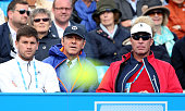 Actor Kevin Spacey with Danny Vallverdu and Ivan Lendl the coaches of Andy Murray of Great Britain during the Men's Singles third round match against...