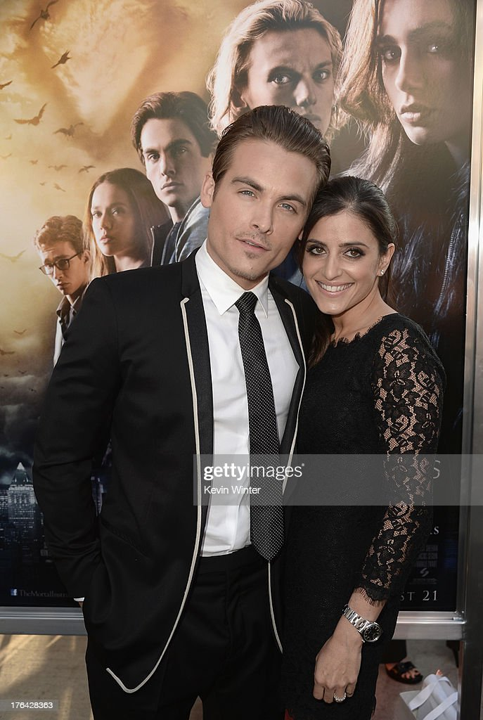 Actor <a gi-track='captionPersonalityLinkClicked' href=/galleries/search?phrase=Kevin+Zegers&family=editorial&specificpeople=622283 ng-click='$event.stopPropagation()'>Kevin Zegers</a> and wife, <a gi-track='captionPersonalityLinkClicked' href=/galleries/search?phrase=Jaime+Feld&family=editorial&specificpeople=4921763 ng-click='$event.stopPropagation()'>Jaime Feld</a> attend the premiere of Screen Gems & Constantin Films' 'The Mortal Instruments: City of Bones' at ArcLight Cinemas Cinerama Dome on August 12, 2013 in Hollywood, California.