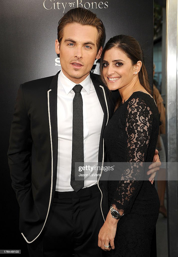 Actor <a gi-track='captionPersonalityLinkClicked' href=/galleries/search?phrase=Kevin+Zegers&family=editorial&specificpeople=622283 ng-click='$event.stopPropagation()'>Kevin Zegers</a> and wife <a gi-track='captionPersonalityLinkClicked' href=/galleries/search?phrase=Jaime+Feld&family=editorial&specificpeople=4921763 ng-click='$event.stopPropagation()'>Jaime Feld</a> attend the premiere of 'The Mortal Instruments: City Of Bones' at ArcLight Cinemas Cinerama Dome on August 12, 2013 in Hollywood, California.