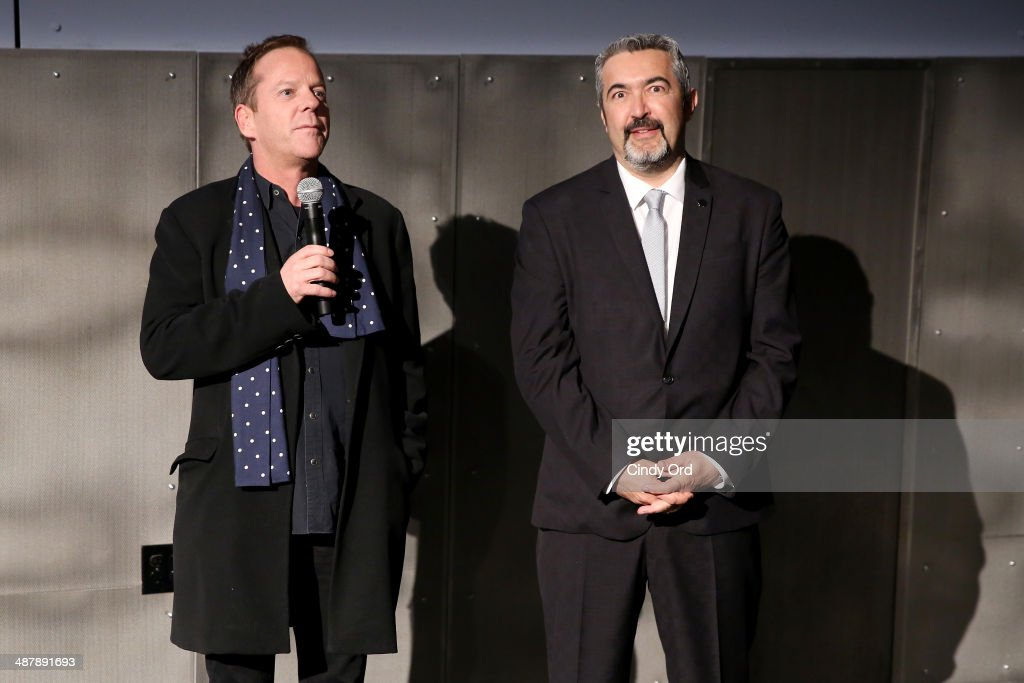 Actor <a gi-track='captionPersonalityLinkClicked' href=/galleries/search?phrase=Kiefer+Sutherland&family=editorial&specificpeople=203142 ng-click='$event.stopPropagation()'>Kiefer Sutherland</a> and director and executive producer <a gi-track='captionPersonalityLinkClicked' href=/galleries/search?phrase=Jon+Cassar&family=editorial&specificpeople=762994 ng-click='$event.stopPropagation()'>Jon Cassar</a> speak during 24: Live Another Day World Premiere Event for Fox on Intrepid Sea, Air & Space Museum on May 2, 2014 in New York City.