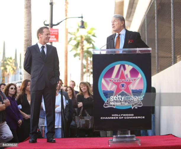 Actor Kiefer Sutherland and director Joel Schumacher attend the ceremony honoring the Actor Kiefer Sutherland with a star on the Hollywood Walk of...