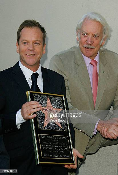 Actor Kiefer Sutherland and his father actor Donald Sutherland attend the ceremony honoring Kiefer Sutherland with a star on the Hollywood Walk of...