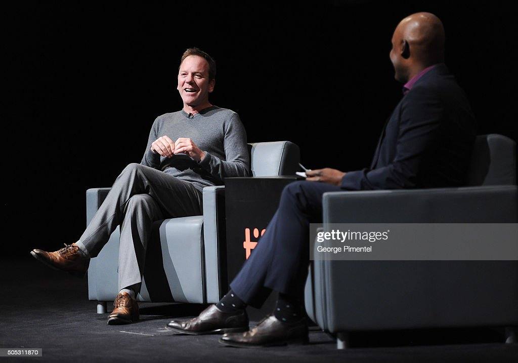 Actor Kiefer Sutherland and TIFF Creative Director Cameron Bailey attend 'In Conversation with Kiefer Sutherland' as part of the Canada's Top Ten Film Festival held at TIFF Bell Lightbox on January 16, 2016 in Toronto, Canada.