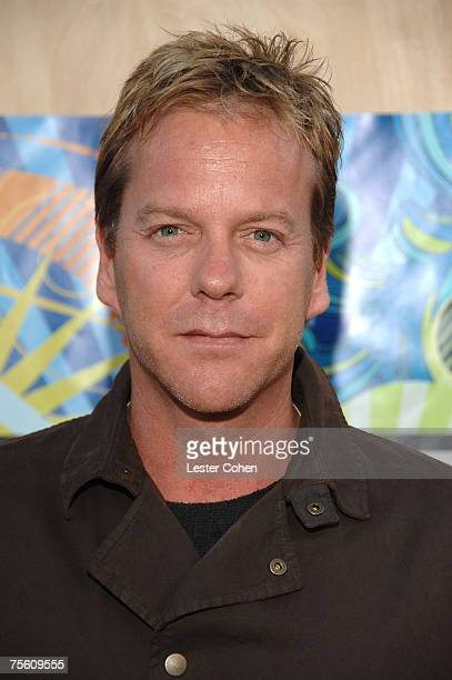 Actor Kiefer Sutherland arrives at the FOX TCA Party at Pacific Park on the Santa Monica Pier in Santa Monica California on July 23 2007