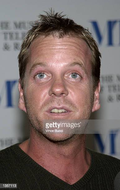 Actor Kiefer Sutherland attends a seminar and DVD launch of the first season of the television show '24' at the Museum of Television And Radio on...