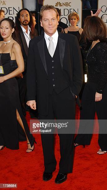 Actor Kiefer Sutherland attends the 60th Annual Golden Globe Awards at the Beverly Hilton Hotel on January 19 2003 in Beverly Hills California