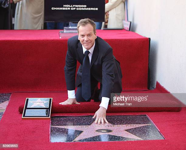 Actor Kiefer Sutherland attends the ceremony honoring him with a star on the Hollywood Walk of Fame on December 9 2008 in Hollywood California