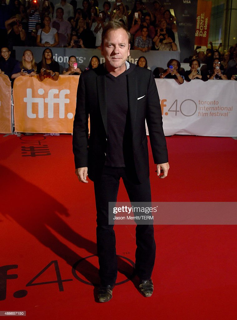 Actor Kiefer Sutherland attends the 'Forsaken' premiere during the 2015 Toronto International Film Festival at Roy Thomson Hall on September 16, 2015 in Toronto, Canada.