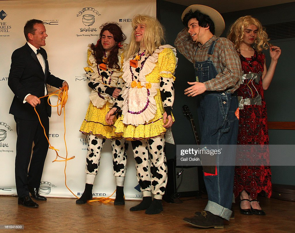 Actor <a gi-track='captionPersonalityLinkClicked' href=/galleries/search?phrase=Kiefer+Sutherland&family=editorial&specificpeople=203142 ng-click='$event.stopPropagation()'>Kiefer Sutherland</a> attends the Hasty Pudding Theatricals 2013 Man Of The Year honoring <a gi-track='captionPersonalityLinkClicked' href=/galleries/search?phrase=Kiefer+Sutherland&family=editorial&specificpeople=203142 ng-click='$event.stopPropagation()'>Kiefer Sutherland</a> on February 8, 2013 in Cambridge, Massachusetts.