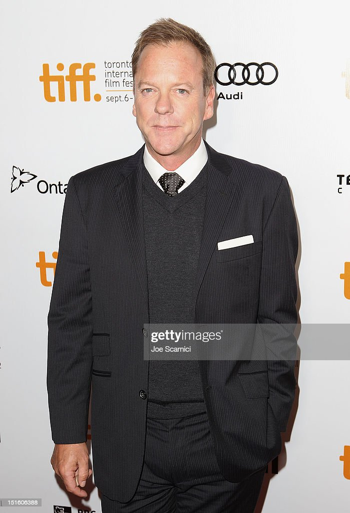 Actor <a gi-track='captionPersonalityLinkClicked' href=/galleries/search?phrase=Kiefer+Sutherland&family=editorial&specificpeople=203142 ng-click='$event.stopPropagation()'>Kiefer Sutherland</a> attends 'The Reluctant Fundamentalist' premiere during the 2012 Toronto International Film Festival at Roy Thomson Hall on September 8, 2012 in Toronto, Canada.