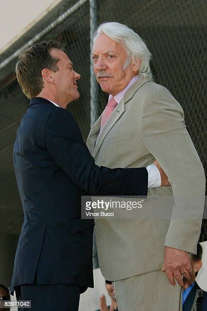 Actor Kiefer Sutherland embraces fis father actor Donald Sutherland at the ceremony honoring Kiefer Sutherland with a star on the Hollywood Walk of...