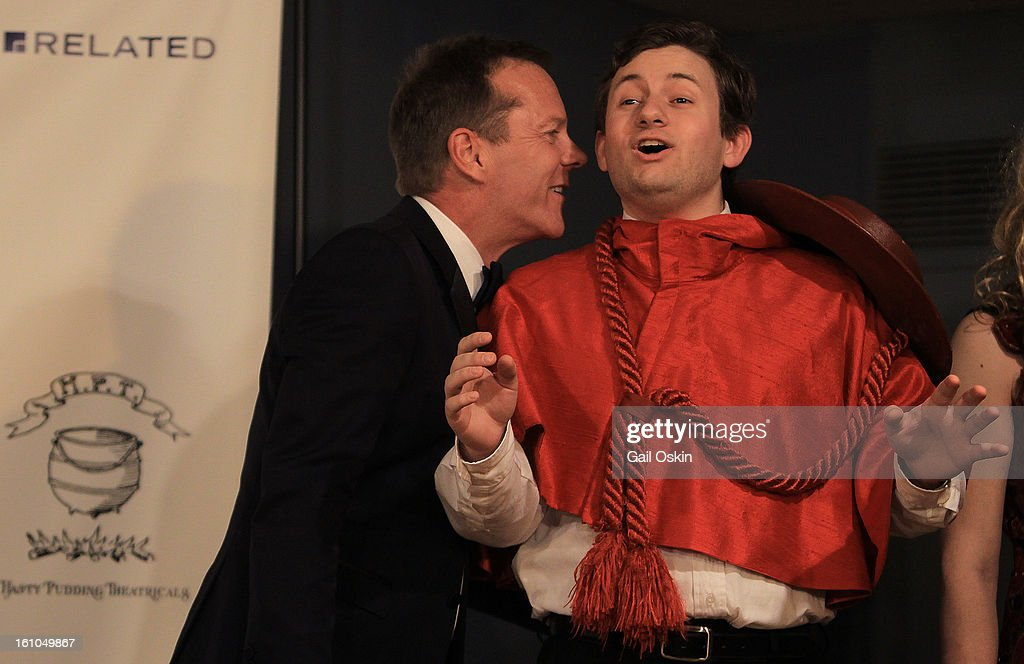 Actor <a gi-track='captionPersonalityLinkClicked' href=/galleries/search?phrase=Kiefer+Sutherland&family=editorial&specificpeople=203142 ng-click='$event.stopPropagation()'>Kiefer Sutherland</a> (L) is roasted by Adam Conner during the Hasty Pudding Theatricals 2013 Man Of The Year honoring <a gi-track='captionPersonalityLinkClicked' href=/galleries/search?phrase=Kiefer+Sutherland&family=editorial&specificpeople=203142 ng-click='$event.stopPropagation()'>Kiefer Sutherland</a> on February 8, 2013 in Cambridge, Massachusetts.
