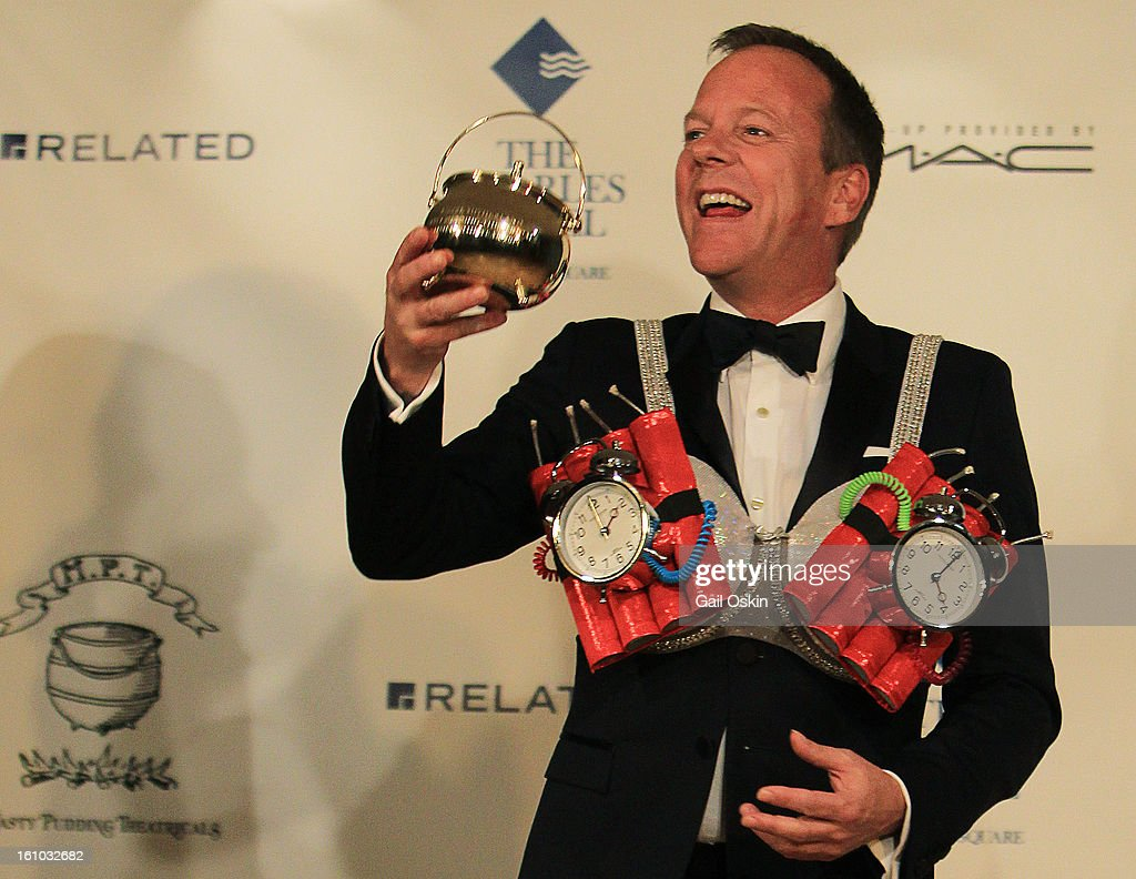 Actor Kiefer Sutherland is roasted by the Hasty Pudding Theatricals 2013 Man Of The Year honoring Kiefer Sutherland as he receives his Pudding Pot on February 8, 2013 in Cambridge, Massachusetts.