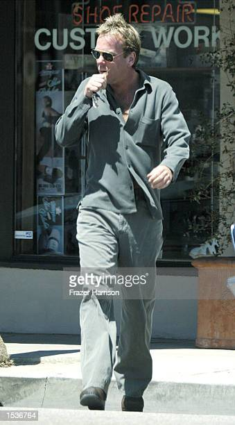 Actor Kiefer Sutherland leaves Papa Jakes Sub Shop April 19 2002 in Beverly Hills CA
