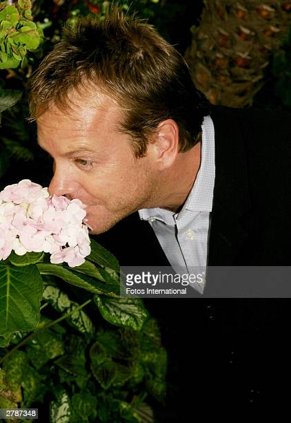 OUT*** Actor Kiefer Sutherland poses at a press junket for the new season of the television series '24' at the Four Seasons Hotel October 24 2003 in...