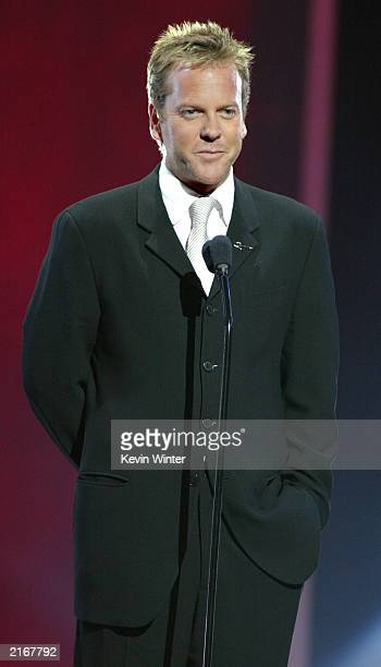 Actor Kiefer Sutherland speaks during the 2003 ESPY Awards at the Kodak Theatre July 16 2003 in Hollywood California
