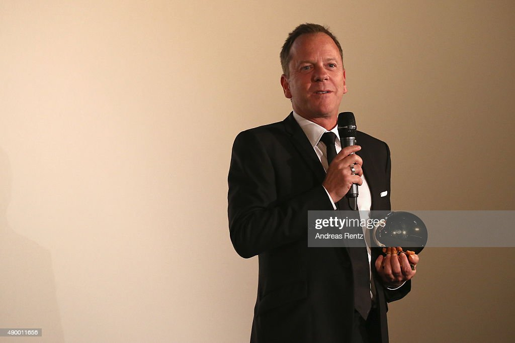 Actor Kiefer Sutherland speaks on stage after being awared with the Golden Eye ahead of 'Forsaken' Premiere during the Zurich Film Festival on September 25, 2015 in Zurich, Switzerland. The 11th Zurich Film Festival will take place from September 23 until October 4.
