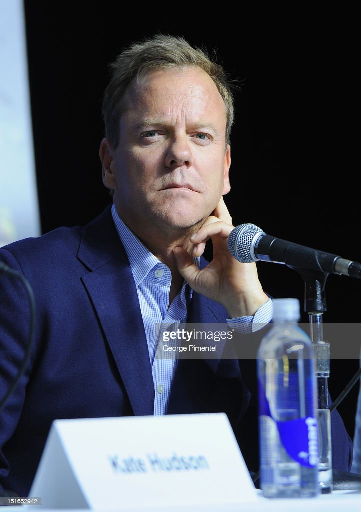 Actor Kiefer Sutherland speaks onstage at 'The Reluctant Fundamentalist' Press Conference during the 2012 Toronto International Film Festival at TIFF...