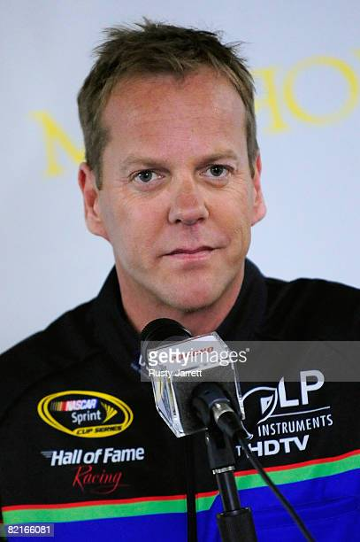 Actor Kiefer Sutherland speaks to the media during a press conference prior to the start of the NASCAR Sprint Cup Series Sunoco Red Cross...