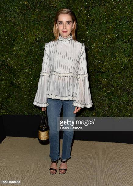 Actor Kiernan Shipka attends the celebration of Chanel's Gabrielle Bag hosted by Caroline De Maigret and Pharrell Williams at Giorgio Baldi on April...