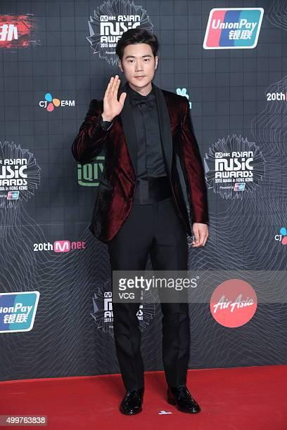 Actor Kim Kangwoo arrives at the red carpet of the 2015 Mnet Asian Music Awards at AsiaWorldExpo on December 2 2015 in Hong Kong Hong Kong