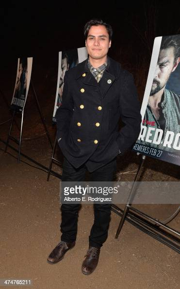 Actor Kiowa Gordon attends a screening of Sundance Channel's 'The Red Road' at The Bronson Caves at Griffith Park on February 24 2014 in Los Angeles...