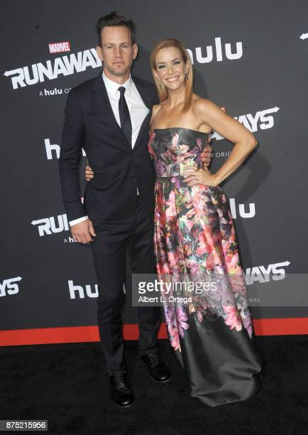 Actor Kip Pardue and actress Annie Wersching arrive for the Premiere Of Hulu's 'Marvel's Runaways' held at Regency Bruin Theatre on November 16 2017...