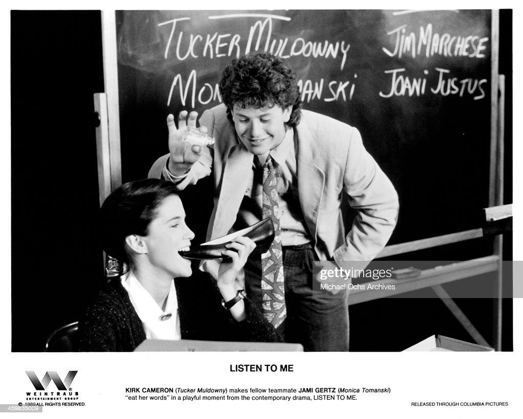 Actor Kirk Cameron and actress Jami Gertz on the set of the Columbia Pictures movie 'Listen to Me' circa 1989