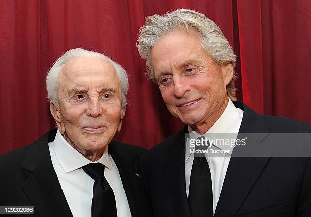 Actor Kirk Douglas and actor Michael Douglas attend SBIFF's 2011 Kirk Douglas Award for Excellence In Film honoring Michael Douglas at the Biltmore...