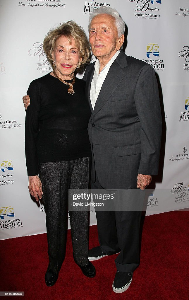Actor <a gi-track='captionPersonalityLinkClicked' href=/galleries/search?phrase=Kirk+Douglas+-+Actor&family=editorial&specificpeople=13450359 ng-click='$event.stopPropagation()'>Kirk Douglas</a> (R) and wife <a gi-track='captionPersonalityLinkClicked' href=/galleries/search?phrase=Anne+Douglas&family=editorial&specificpeople=243157 ng-click='$event.stopPropagation()'>Anne Douglas</a> attend the Los Angeles Mission's 20th Anniversary Gala for the <a gi-track='captionPersonalityLinkClicked' href=/galleries/search?phrase=Anne+Douglas&family=editorial&specificpeople=243157 ng-click='$event.stopPropagation()'>Anne Douglas</a> Center for Women at the Four Seasons Hotel Los Angeles at Beverly Hills on September 12, 2012 in Beverly Hills, California.