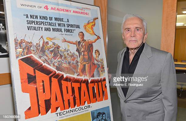Actor Kirk Douglas attends the last 70mm film screening of 'Spartacus' at AMPAS Samuel Goldwyn Theater on August 13 2012 in Beverly Hills California
