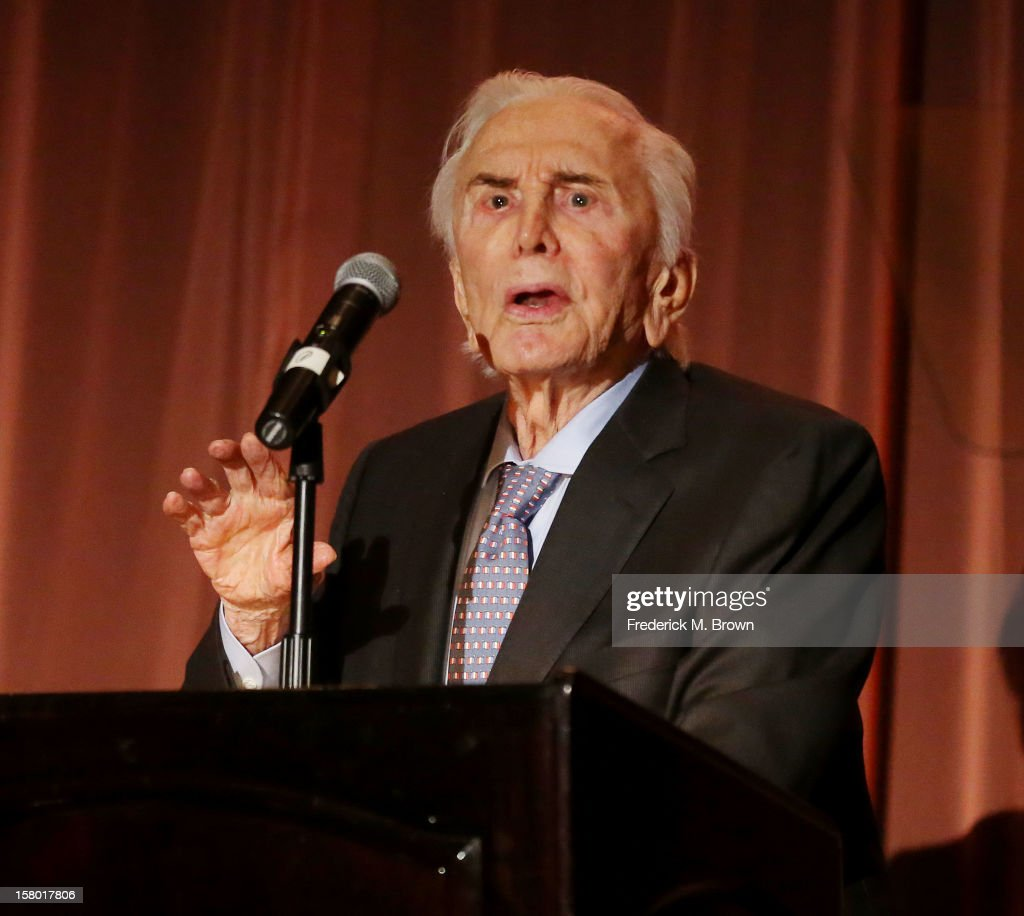 Actor <a gi-track='captionPersonalityLinkClicked' href=/galleries/search?phrase=Kirk+Douglas+-+Actor&family=editorial&specificpeople=13450359 ng-click='$event.stopPropagation()'>Kirk Douglas</a> attends the SBIFF's 2012 <a gi-track='captionPersonalityLinkClicked' href=/galleries/search?phrase=Kirk+Douglas+-+Actor&family=editorial&specificpeople=13450359 ng-click='$event.stopPropagation()'>Kirk Douglas</a> Award For Excellence In Film during the Santa Barbara Film Festival on December 8, 2012 in Goleta, California.
